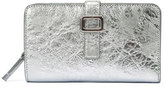 Roger Vivier Crackled Leather Buckle Zip-Around Wallet, Silver
