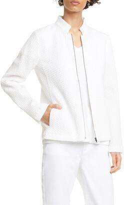 Eileen Fisher Zip Front Jacquard Cotton Blend Jacket