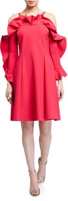 Chiara Boni Ruffle-Neck Cold-Shoulder A-Line Dress