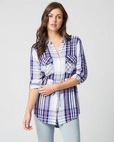 Le Château Check Print Twill Button-Front Tunic