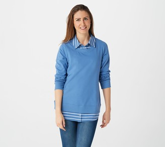 Denim & Co. French Terry Tunic w/ Printed Collar and Hem