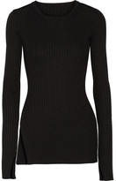 MM6 MAISON MARGIELA Cutout Rbbed-knit Sweater - Black