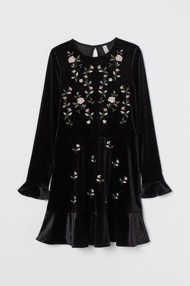 H&M Embroidered Velour Dress - Black
