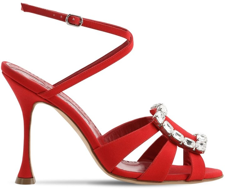 Thumbnail for your product : Manolo Blahnik 105mm Ticuna Crepe De Chine Sandals