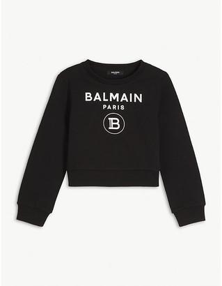 Balmain Logo-print cotton-jersey sweatshirt 4-16 years
