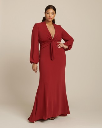 Reem Acra Crepe Draped Gown with Long Sleeves