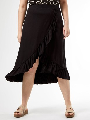 Dorothy Perkins Curve Ruffle Wrap Skirt - Black