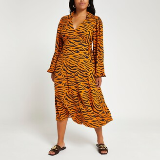 River Island Womens Plus Brown animal print wrap midi dress
