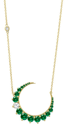 Shay 18K Yellow Gold Dashing Diamond and Emerald Crescent Necklace