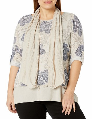 M Made in Italy Women's Knitted L/S Tunic with Woven Inner Layer and Scarf