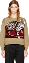 Dolce & Gabbana Tan Cashmere Crowned Bengal Cat Sweater