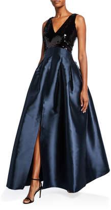 Sachin + Babi Claire V-Neck Sleeveless Sequin-Bodice Ball Gown