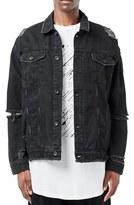 Topman Men's Aaa Collection Ripped Denim Jacket