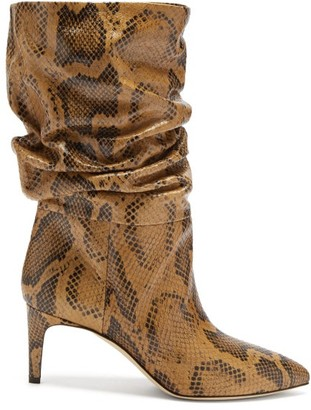 Paris Texas Slouchy Python-effect Leather Ankle Boots - Brown Multi