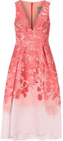 Lela Rose Floral Organza-jacquard Dress - Coral