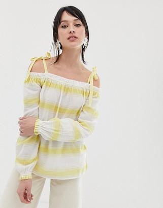 Vero Moda Stripe Cami Tie Strap Top-Yellow