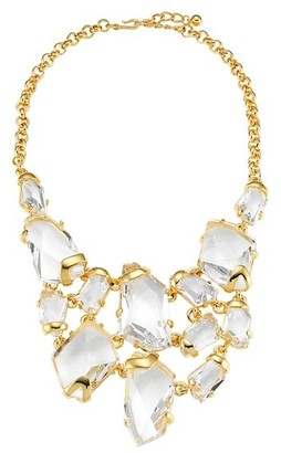 Kenneth Jay Lane 22K Goldplated & Clear Crystal Drop Bib Necklace