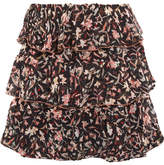 IRO Ruffled Printed Georgette Mini Skirt - Black