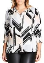 City Chic Jagged Stripe Shirt