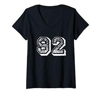 Womens Number 92 Sports Jersey Player Fan FRONT Print Vintage V-Neck T-Shirt