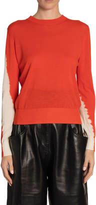 Proenza Schouler Tie-Dye-Sleeve Crewneck Sweater