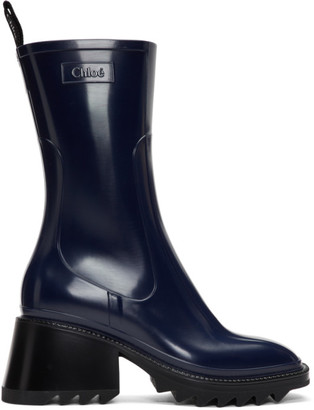 Chloé Navy PVC Betty Rain Boots