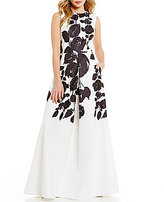 David Meister Floral Crepe Sleeveless Ballgown