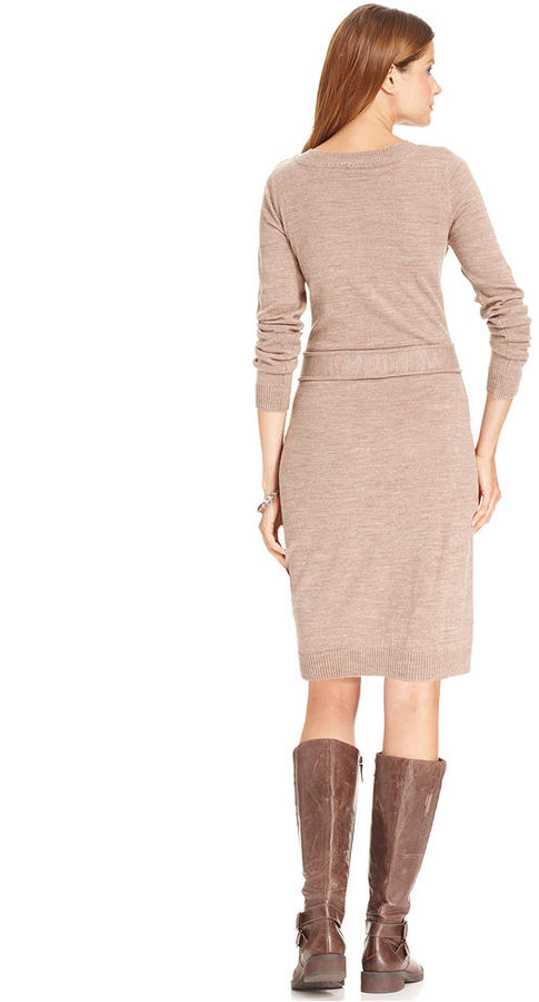 Amy Byer Long-Sleeve Belted Cable-Knit Sweater Dress