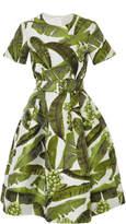 Oscar de la Renta Belted Banana Leaf Dress