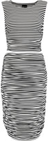 Norma Kamali Striped cutout ruched stretch-jersey midi dress