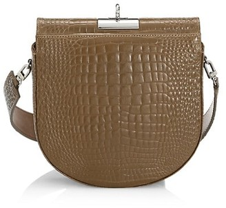 Gu_de Small Demilune Croc-Embossed Leather Crossbody Bag