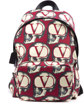 Valentino Garavani V Logo And Skulls Printed Red Fabric Backpack
