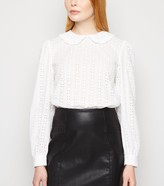 New Look Broderie Collared Puff Sleeve Top