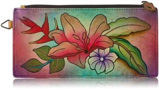 Anuschka Hand Painted Leather Organizer Wallet Credit Card Holder