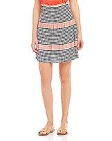 M.S.S.P. Smocked Waist Stripe Knit Jersey Skirt