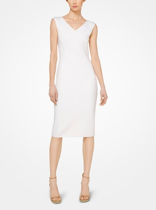 Michael Kors Collection Stretch-Boucle V-Neck Sheath Dress