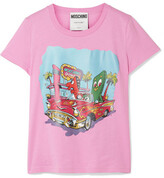 Moschino Printed Cotton-jersey T-shirt - Pink