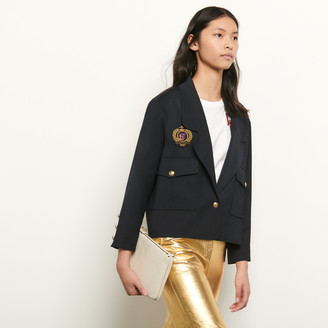 Sandro Short tailored jacket with patch