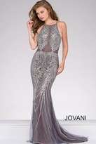 Jovani Embellished Halter Neckline Pageant Dress 45571