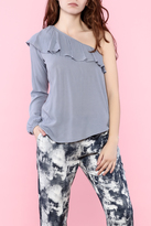 Mono B One Sleeve Ruffle Top