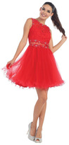 May Queen - MQ-1268 Sleeveless Lace Illusion A-Line Dress
