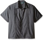 Cubavera Men's Big and Tall Short Sleeve Chambray Tucks Embroidered Woven Shirt