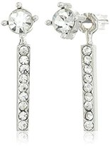 Jessica Simpson Rhodium/Crystal Petite Rectangle and Circle Stud Earrings