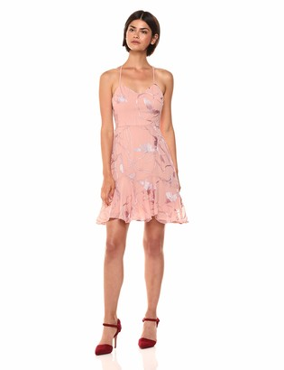 Halston Women's Sleeveless V Neck Embroidered Soutache Dress