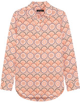 Kate Moss for Equipment - Slim Signature Printed Washed-silk Shirt - Peach