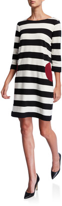 Joan Vass Striped Boat-Neck 3/4-Sleeve Dress with Pockets