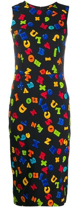 Moschino fitted letters print dress