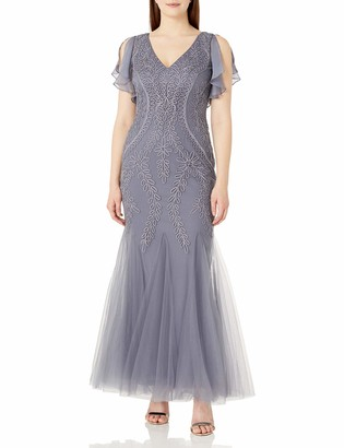 Cachet Women's V Neck Embroidered Mesh Gown Grey 8