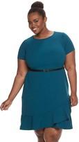 Plus Size Suite 7 Belted A-Line Dress