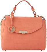 Versace Snake-Embossed Leather Satchel Bag, Corallo